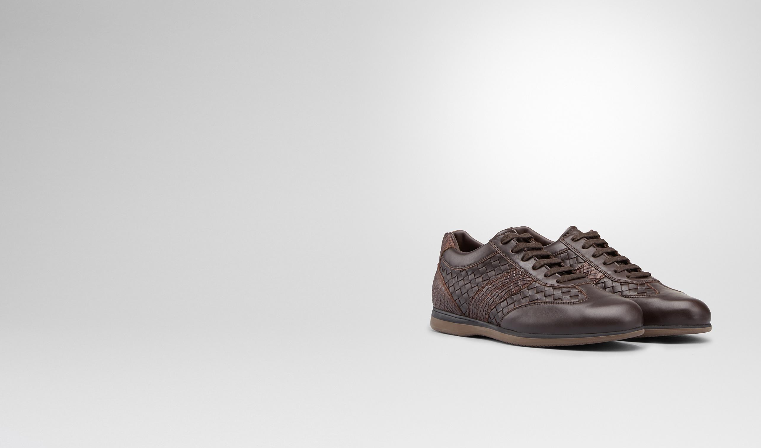BOTTEGA VENETA Sneakers U Sneaker Espresso in Intrecciato Calf e Caimano Morbido pl