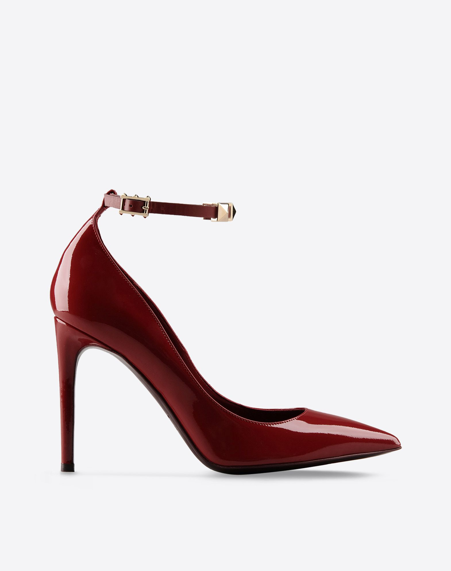 VALENTINO Metal Applications Varnished effect Solid color Buckling ankle strap closure Leather sole Narrow toeline Spike heel  44648999rx