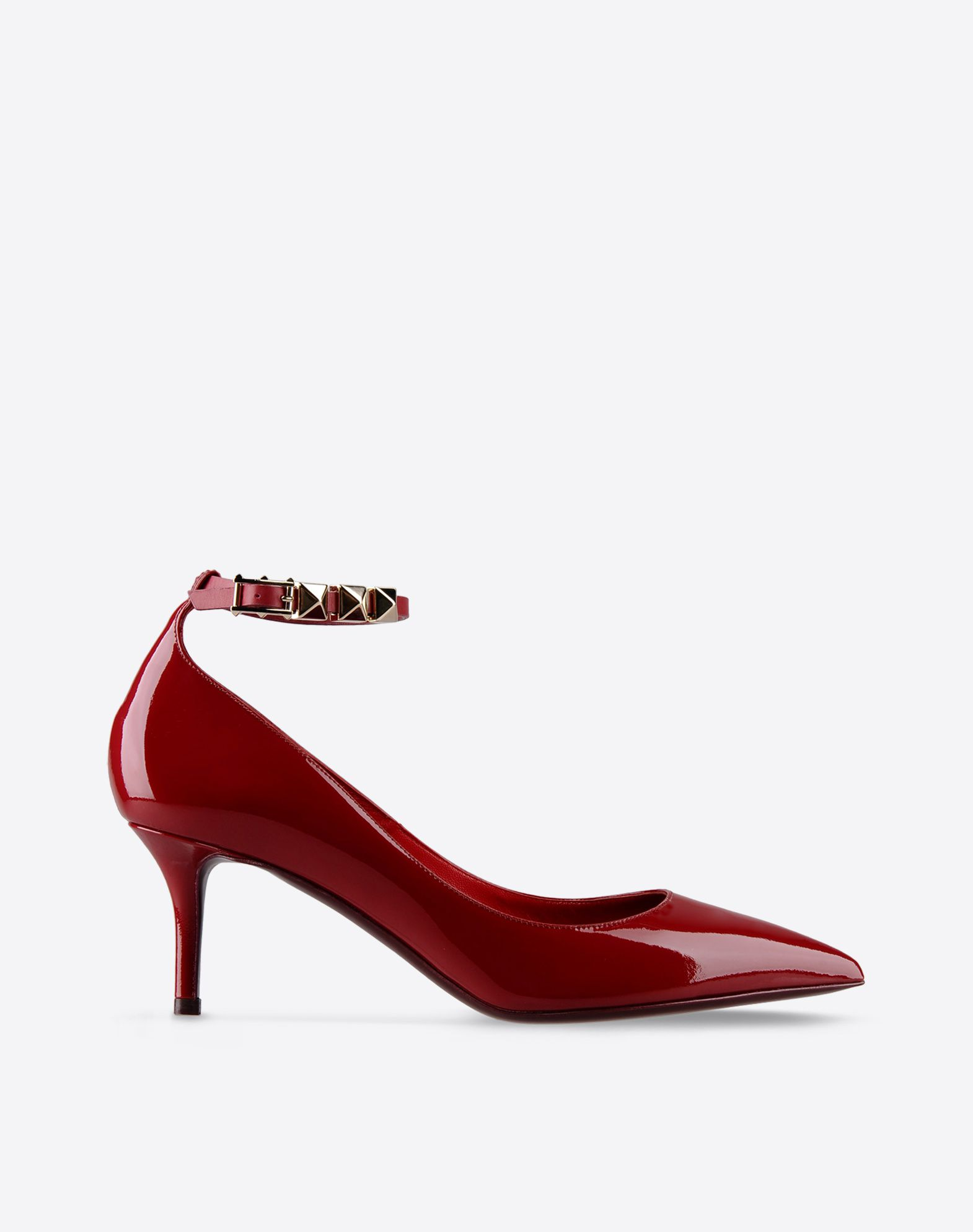 VALENTINO Varnished effect Studs Solid color Buckling ankle strap closure Leather sole Narrow toeline Covered heel  44655628dh