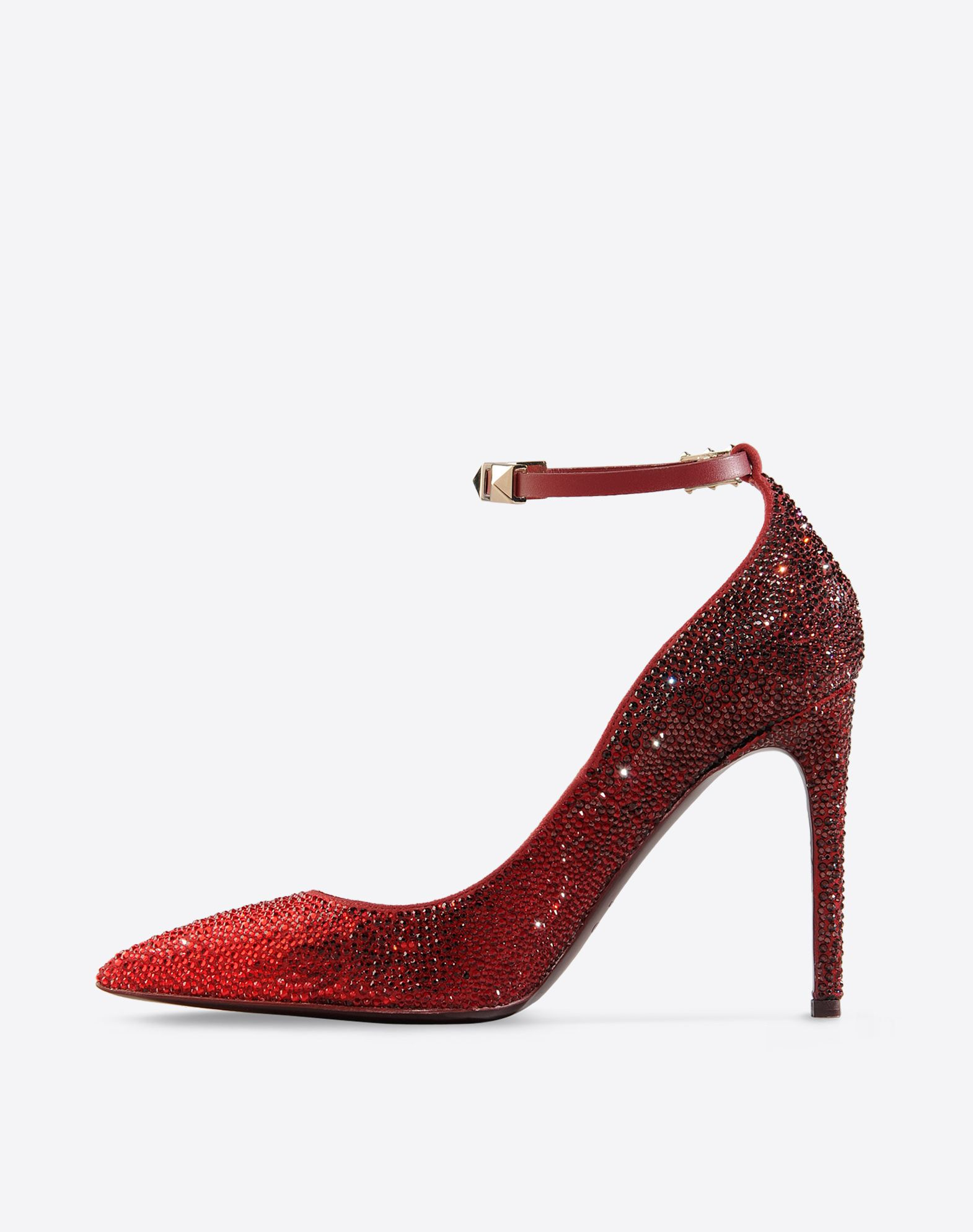 VALENTINO Rhinestone detailing Studs Solid color Buckling ankle strap closure Leather sole Narrow toeline Covered heel  44656026hx