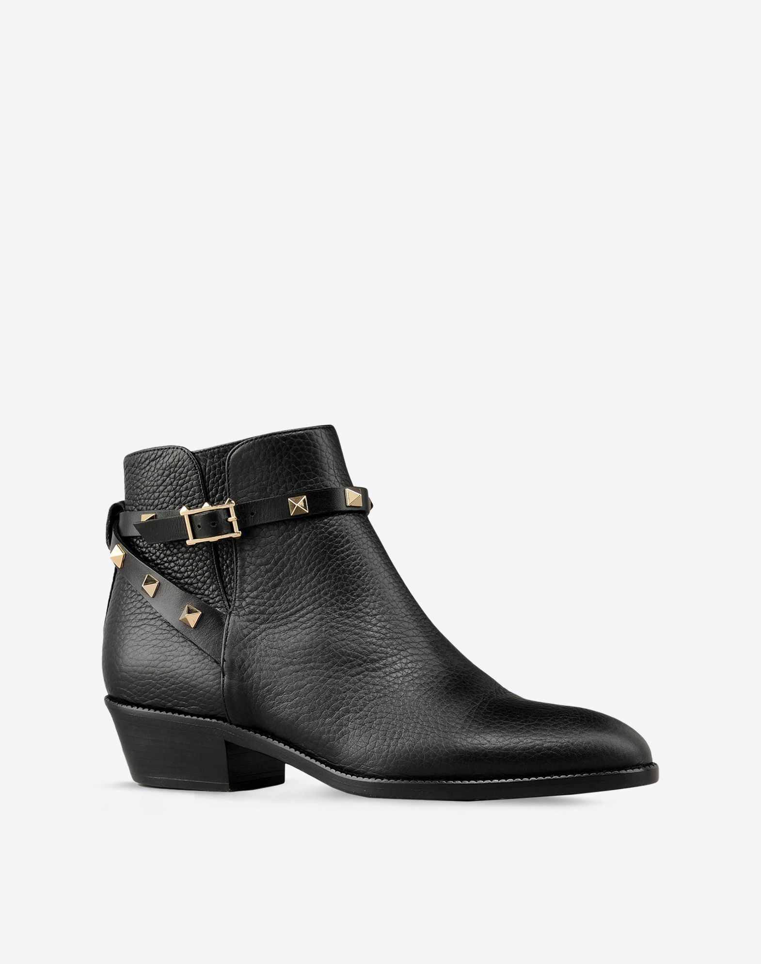 VALENTINO Buckle Studs Textured leather Solid color Inner zip closure Leather sole Round toeline Western heel  44657919tf