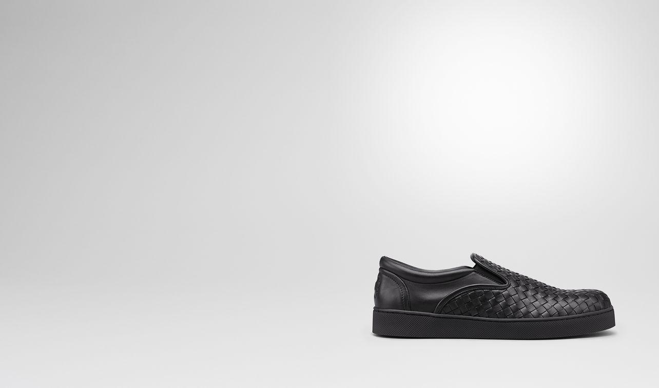 dodger sneaker in nero intrecciato nappa landing