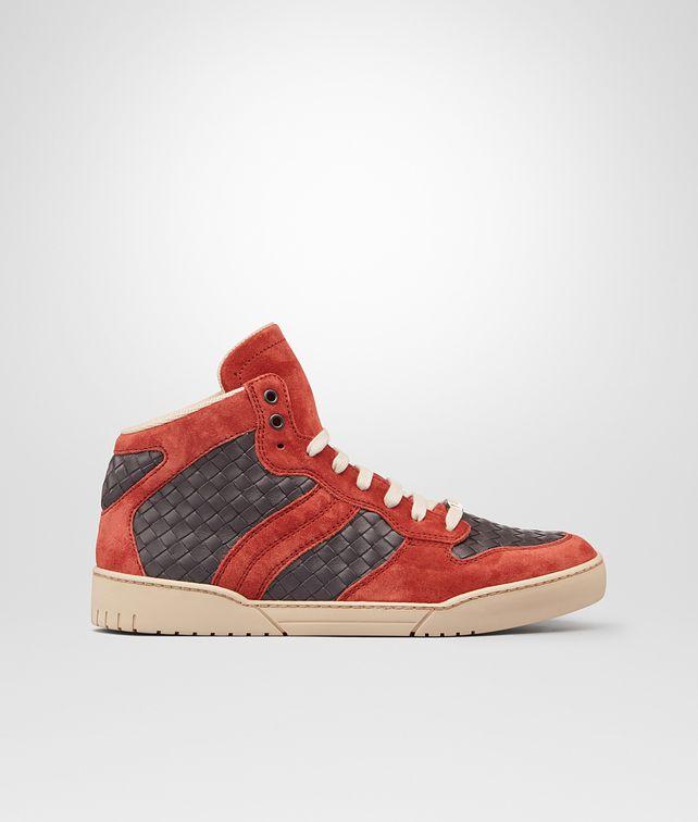 BOTTEGA VENETA Medium Grey Burnt Red Intrecciato Calf Suede Sneaker Trainers U fp
