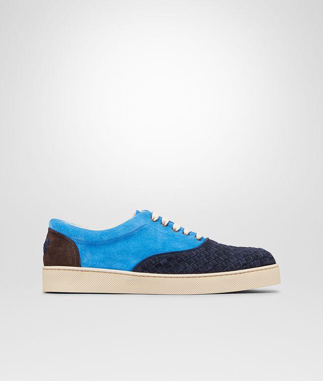 BOTTEGA VENETA Prusse Signal Blue Espresso Intrecciato Suede Sneaker Trainers U fp