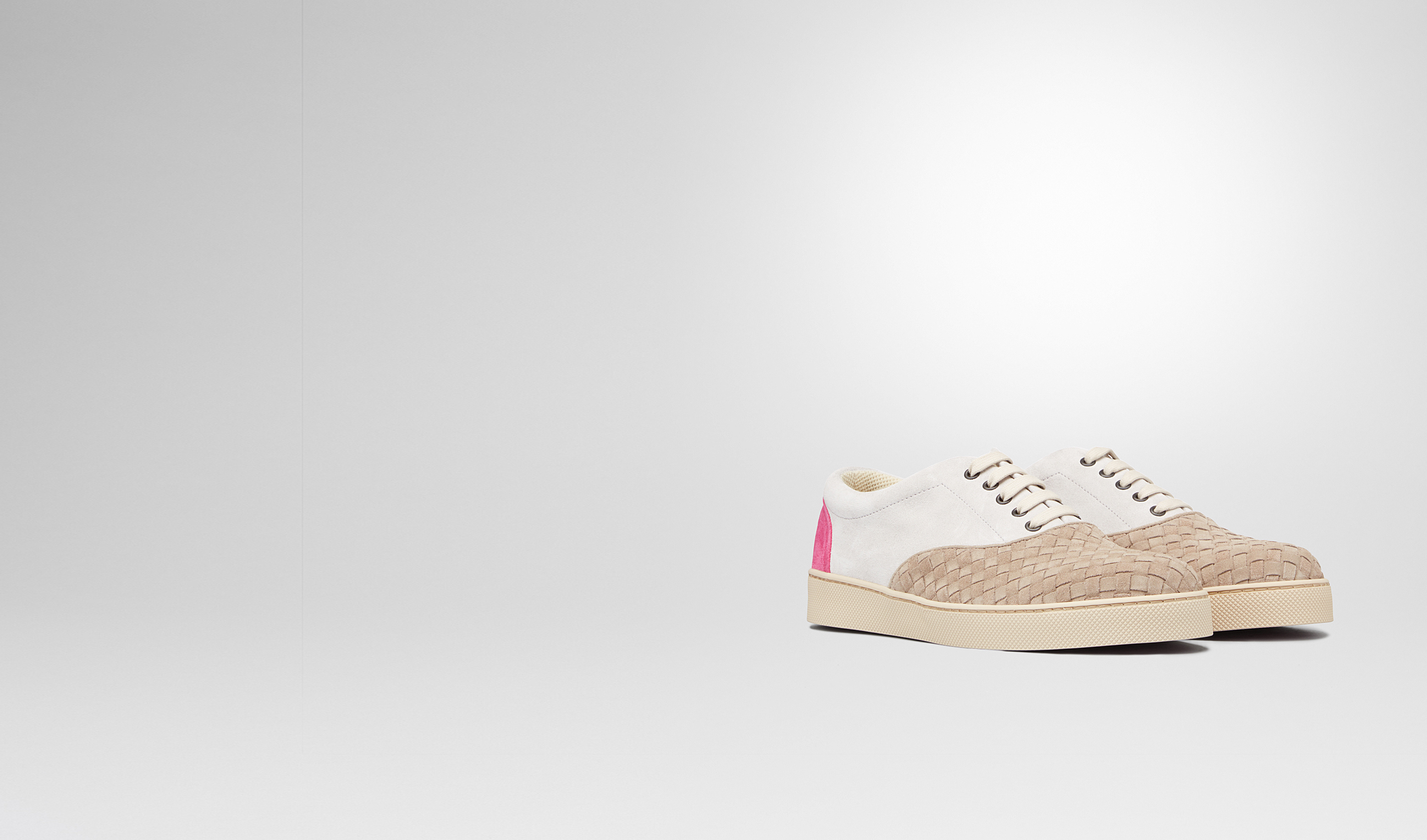 BOTTEGA VENETA Sneakers U Sand Mist Rosa Shock Intrecciato Suede Sneaker pl