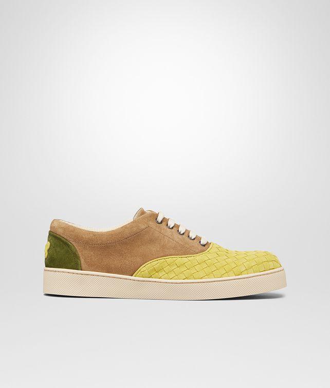 BOTTEGA VENETA Chartreuse Bronze Army Intrecciato Suede Sneaker Trainers U fp