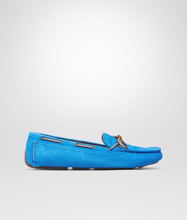 BOTTEGA VENETA MOCASSINI SIGNAL BLUE IN INTRECCIATO SUEDE Scarpa Bassa D fp