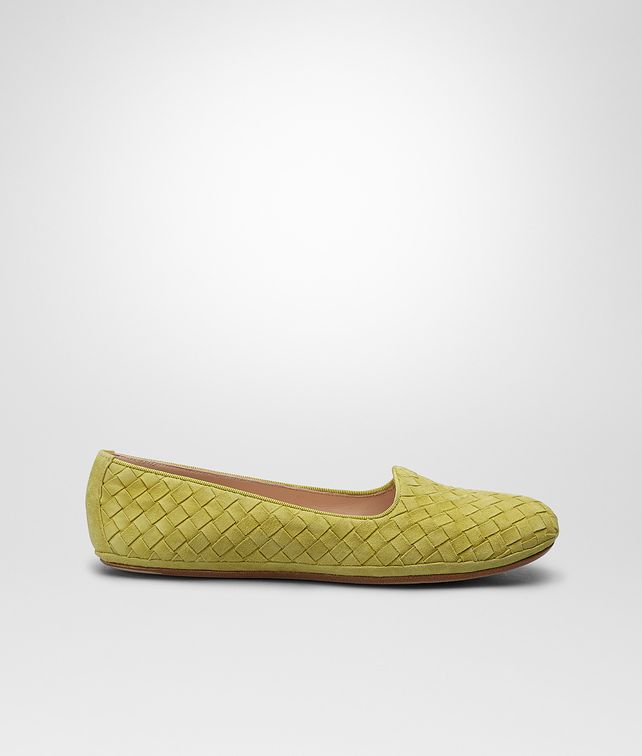 BOTTEGA VENETA New Chartreuse Intrecciato Suede Outdoor Slipper Flat D fp