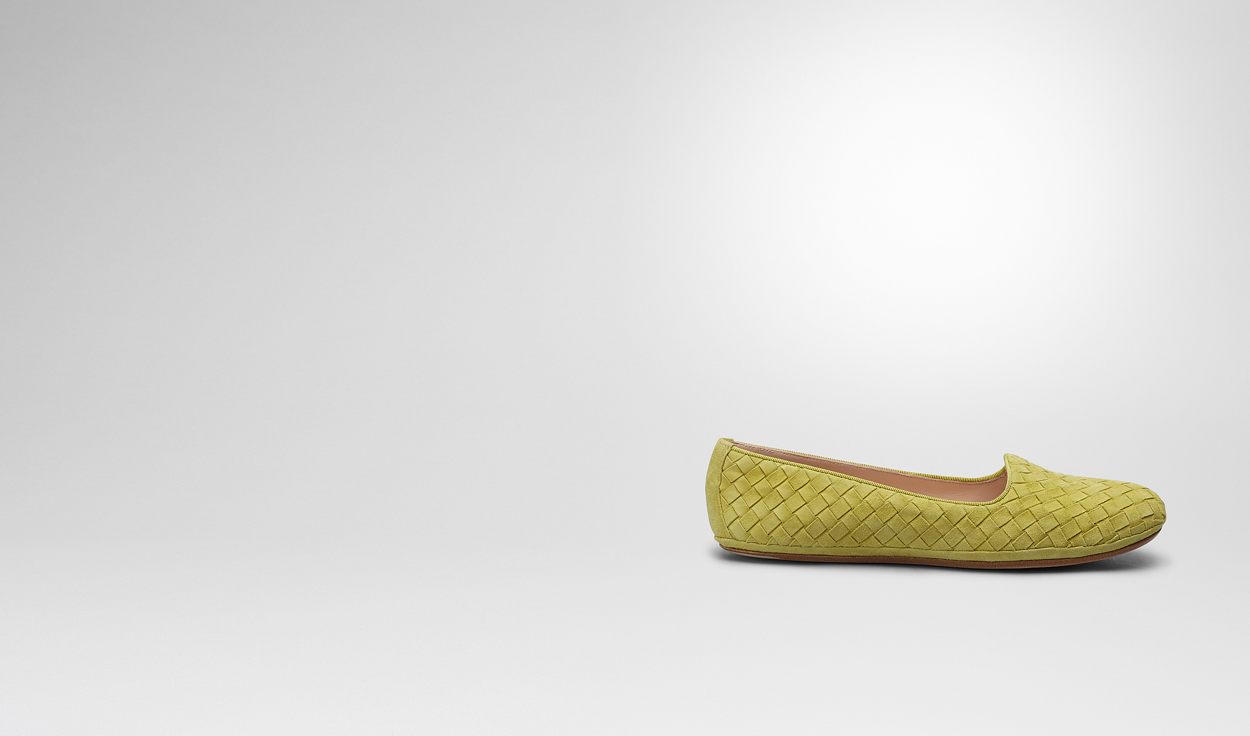 BOTTEGA VENETA Flat D New Chartreuse Intrecciato Suede Outdoor Slipper pl