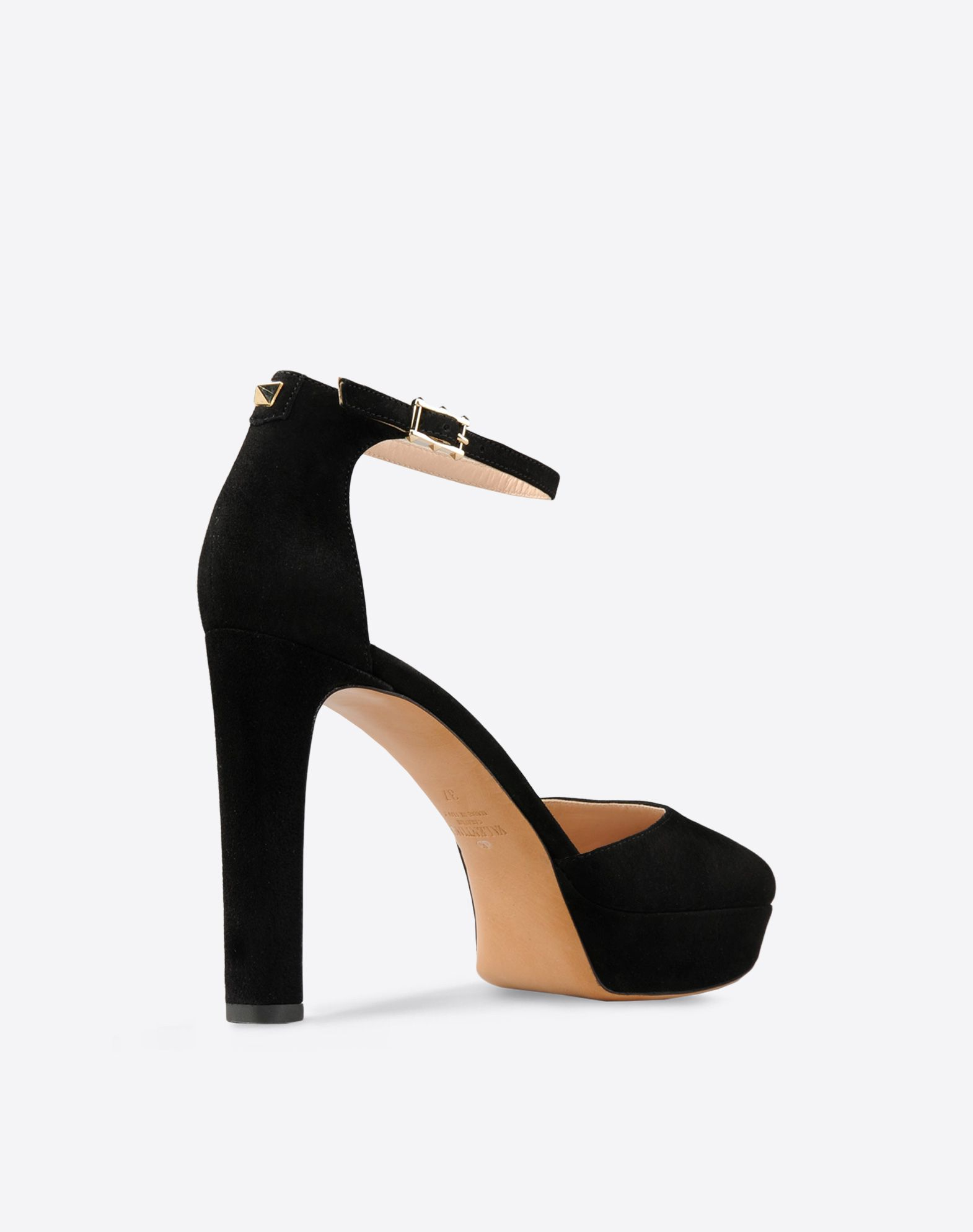 VALENTINO Metal Applications Sueded Solid color Side buckle closure Leather sole Round toeline Covered heel  44682185gk