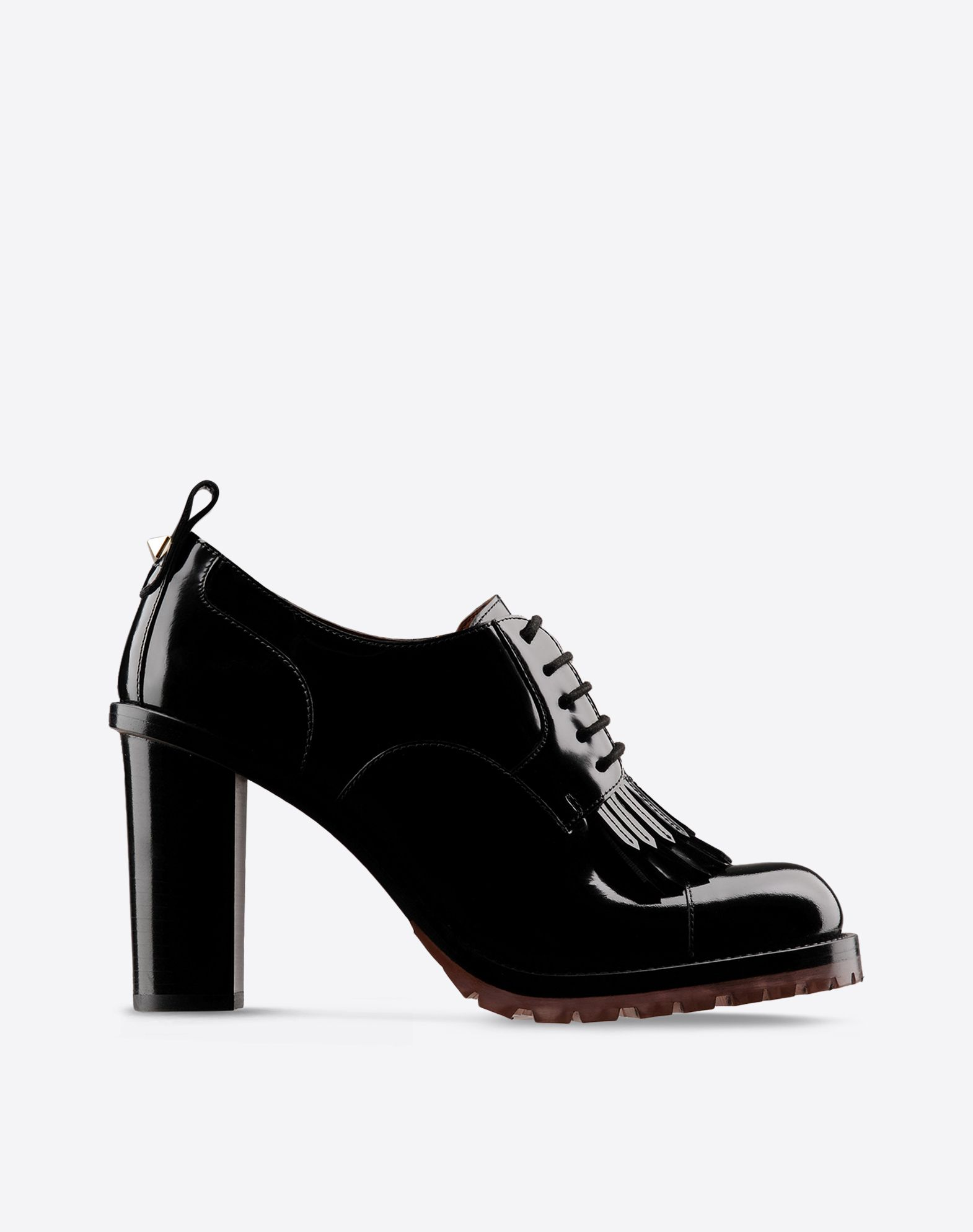 VALENTINO Fringe Metal Applications Polished leather Solid color Laces Lug sole Round toeline  44682188aa