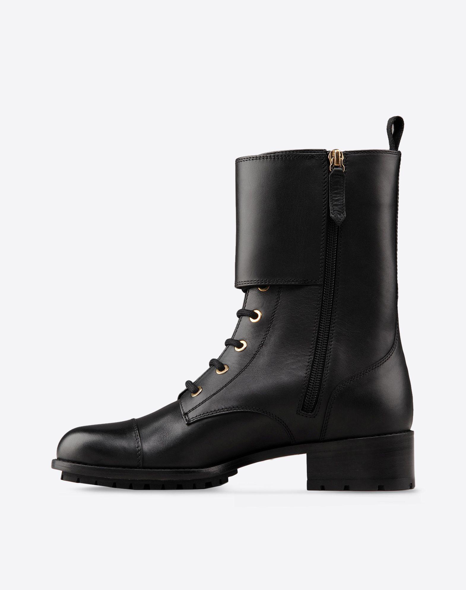 VALENTINO Lacing Solid color Zip closure Lug sole Round toeline Flat heel  44682189su