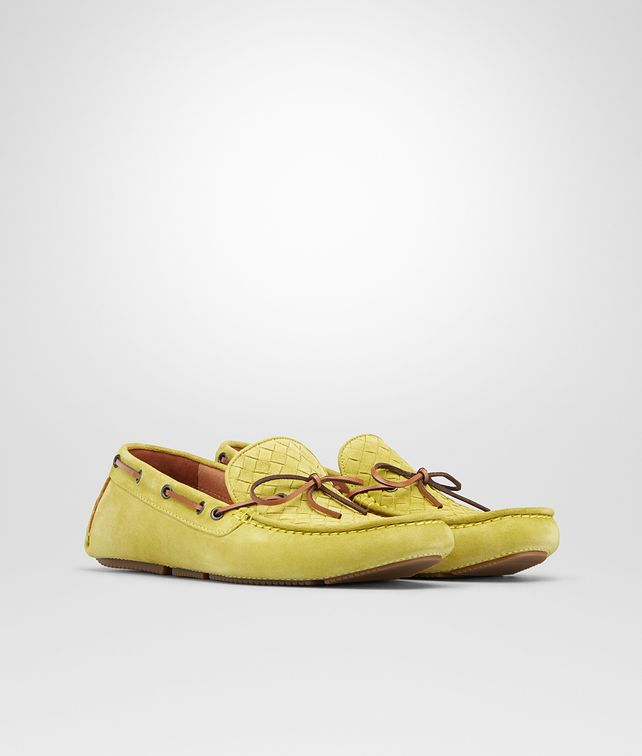 BOTTEGA VENETA New Chartreuse Intrecciato Suede Moccasin Mocassin or Slipper U fp