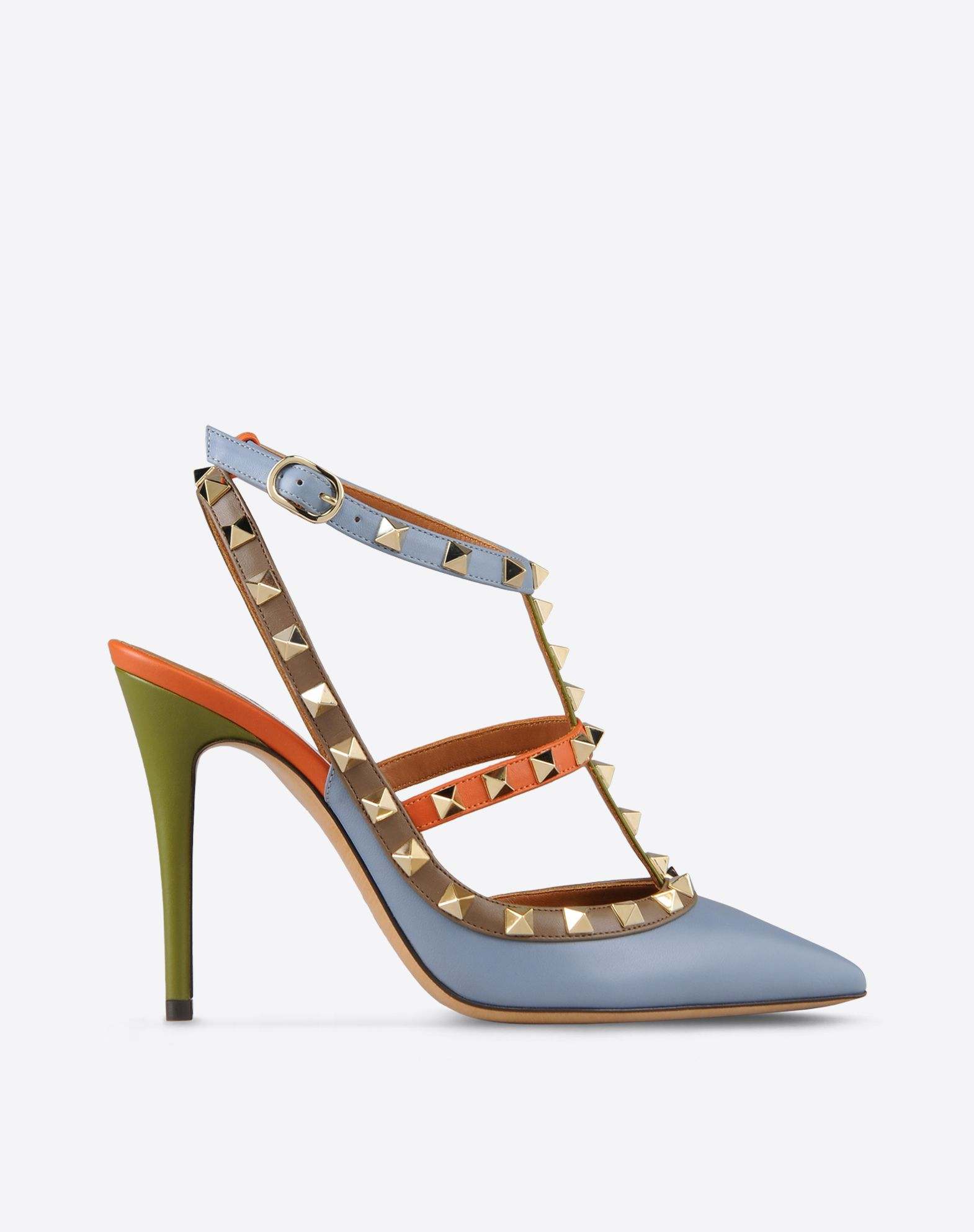 VALENTINO Studs Multicolour Pattern Buckle Leather sole Narrow toeline Covered heel  44718153vk