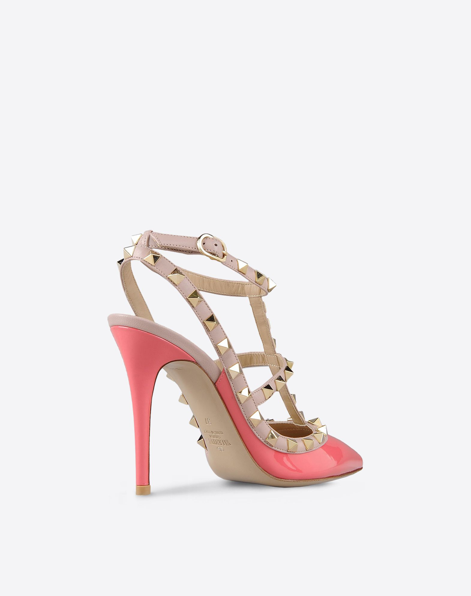 VALENTINO Studs Varnished effect Two-tone pattern Buckling ankle strap closure Leather sole Narrow toeline Covered heel  44719444vs
