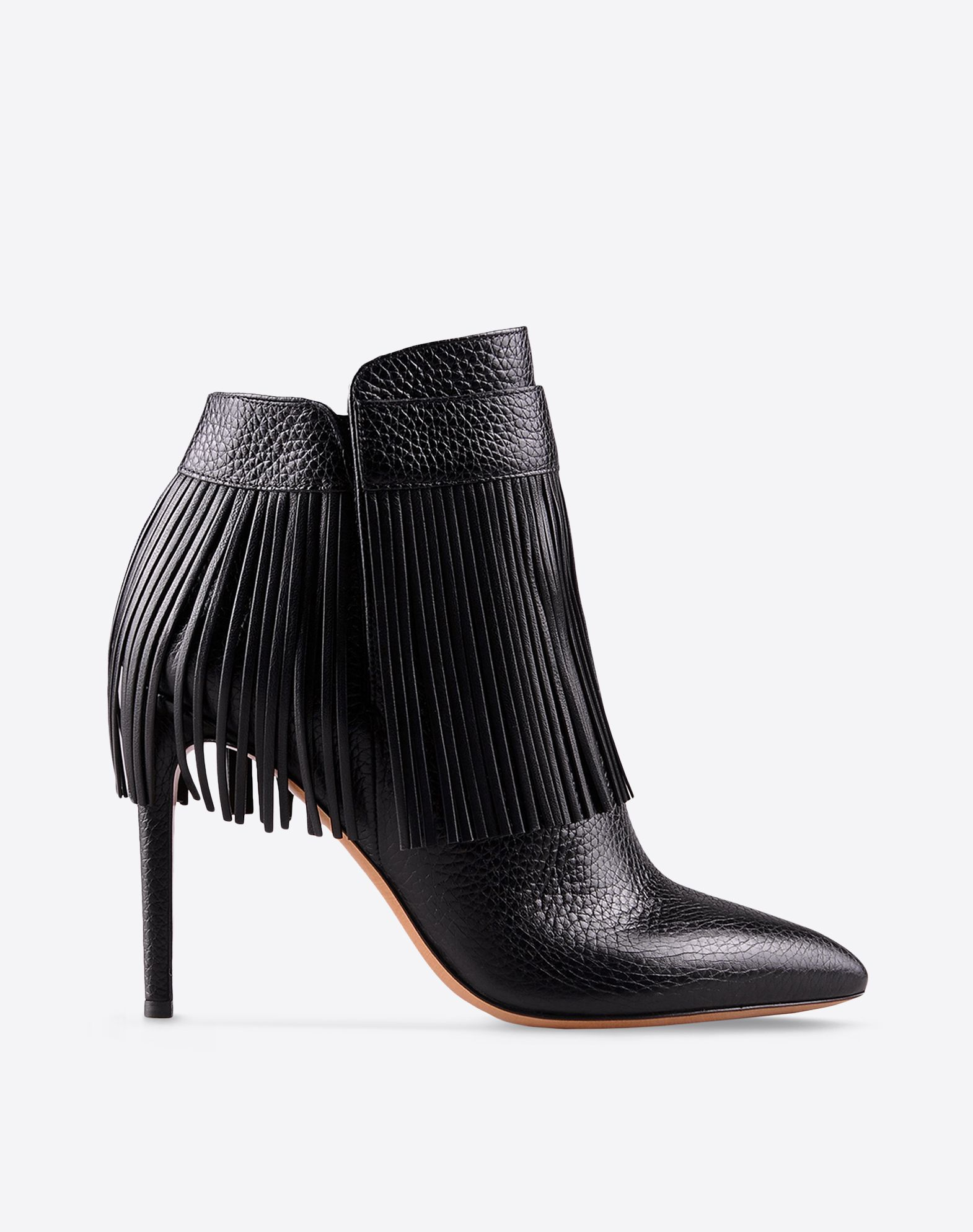 VALENTINO Fringe Textured leather Solid color Zip closure Leather sole Covered heel Narrow toeline  44724696oj