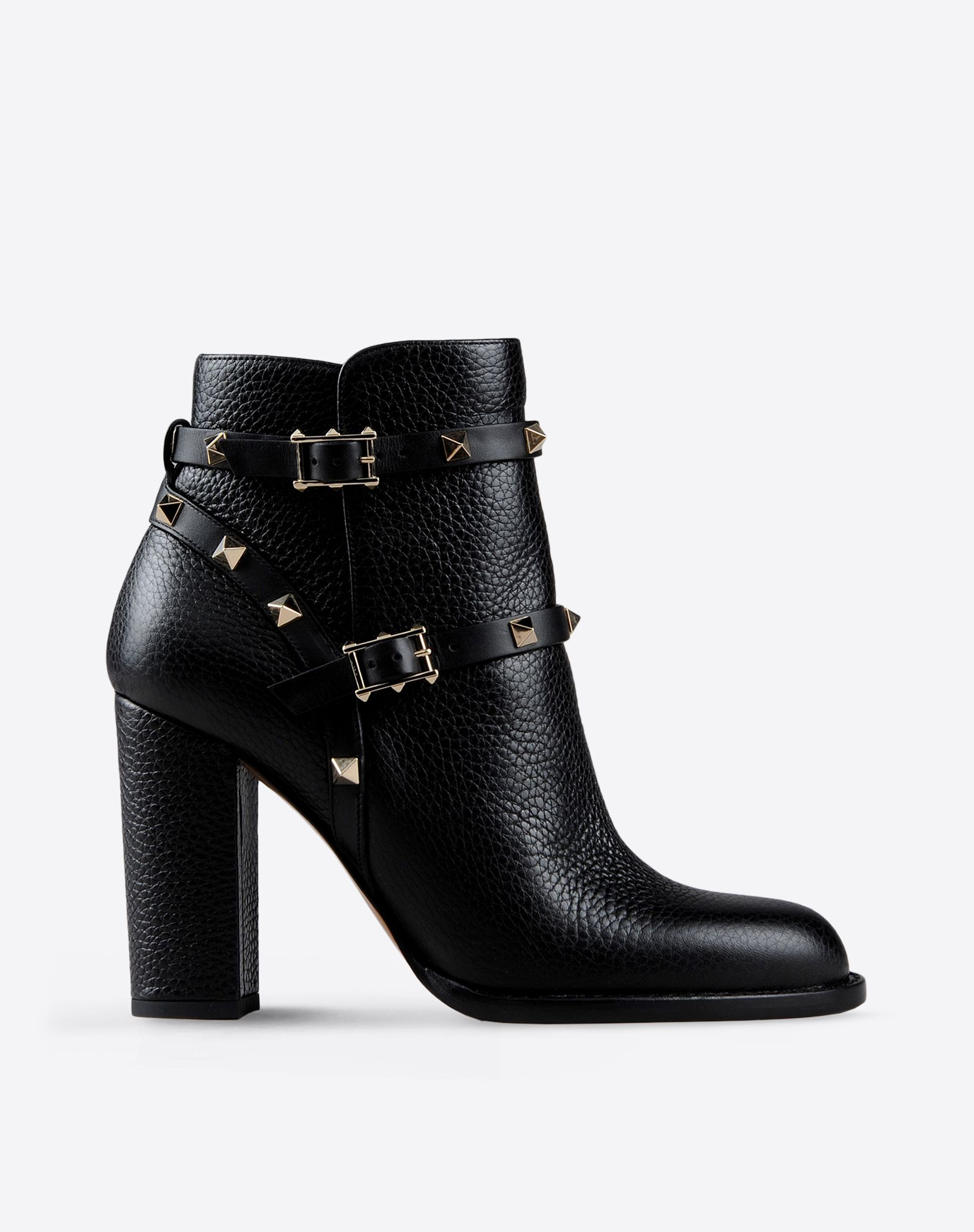 VALENTINO Studs Strap detailing Textured leather Solid color Leather sole Round toeline Covered heel  44732949ru