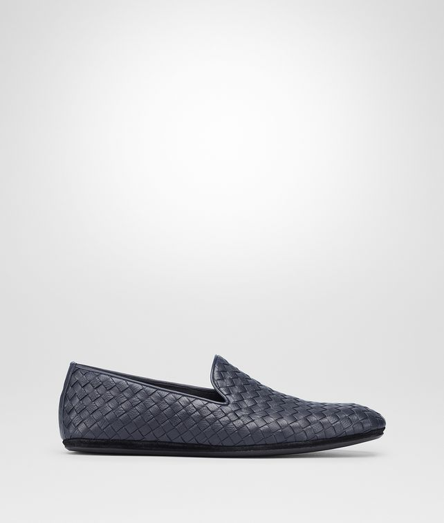 BOTTEGA VENETA FIANDRA SLIPPER IN DARK NAVY INTRECCIATO CALF Mocassin or Slipper Man fp