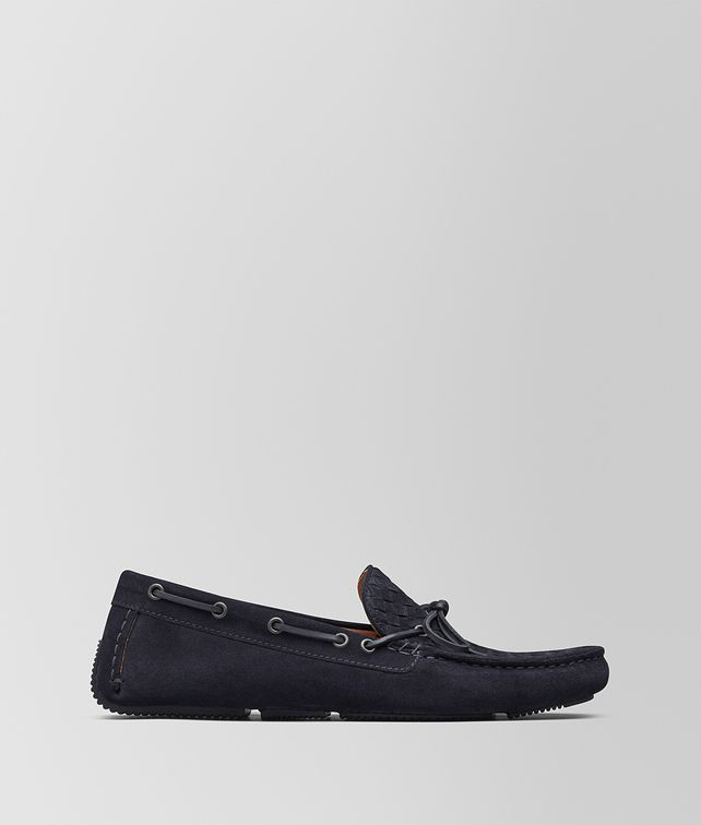 BOTTEGA VENETA DARK NAVY INTRECCIATO SUEDE WAVE DRIVER Slippers and Loafers [*** pickupInStoreShippingNotGuaranteed_info ***] fp