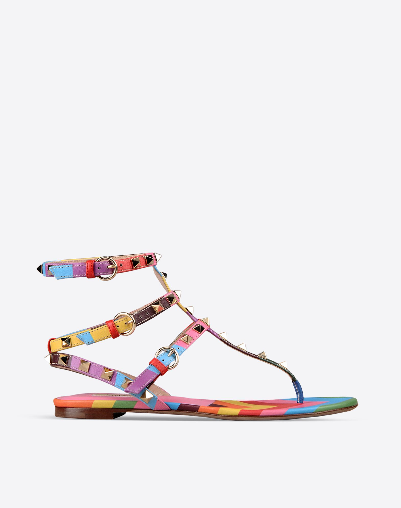 VALENTINO Metal Applications Multicolour Pattern Buckle Leather/rubber sole Round toeline Flat heel  44743828wn