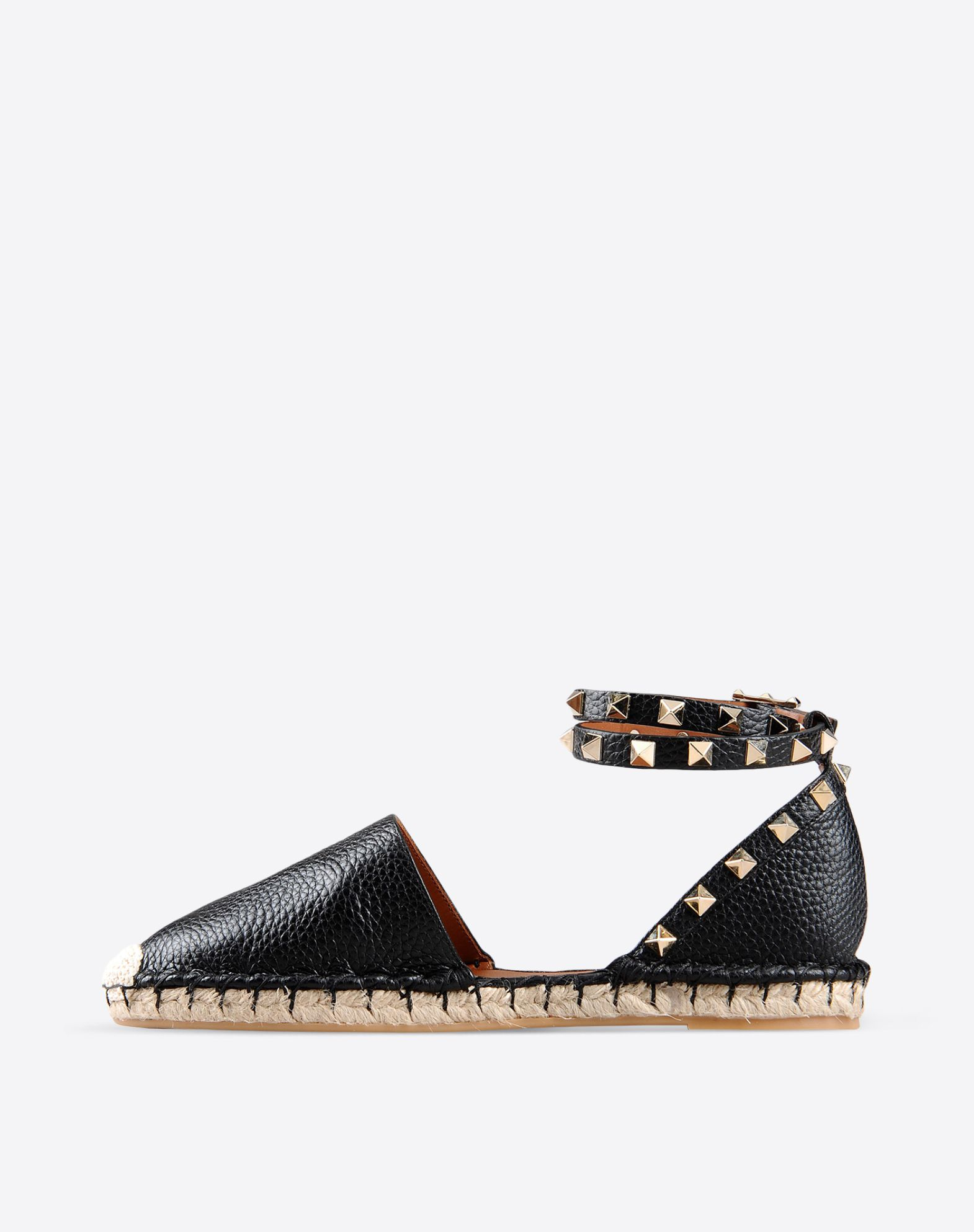 VALENTINO Studs Textured leather Solid color Buckling ankle strap closure Rubber sole Round toeline  44747883tq