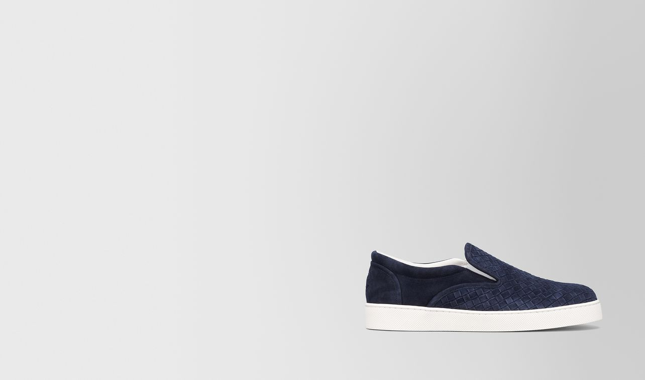 dodger sneaker aus intrecciato veloursleder in dark navy landing