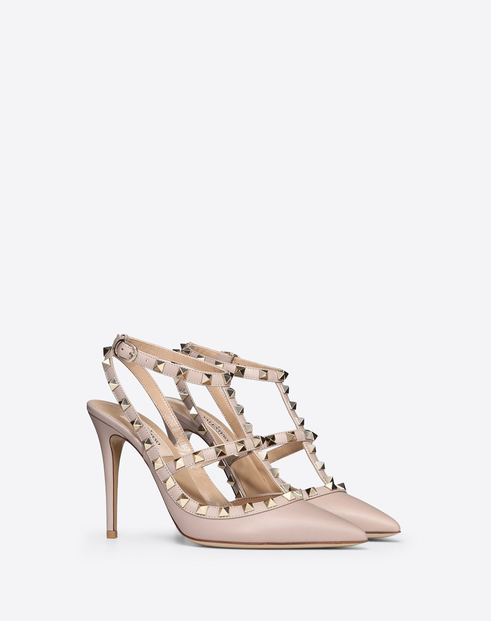 VALENTINO Studs Leather sole Buckling ankle strap closure Spike heel Narrow toeline  44754971cc