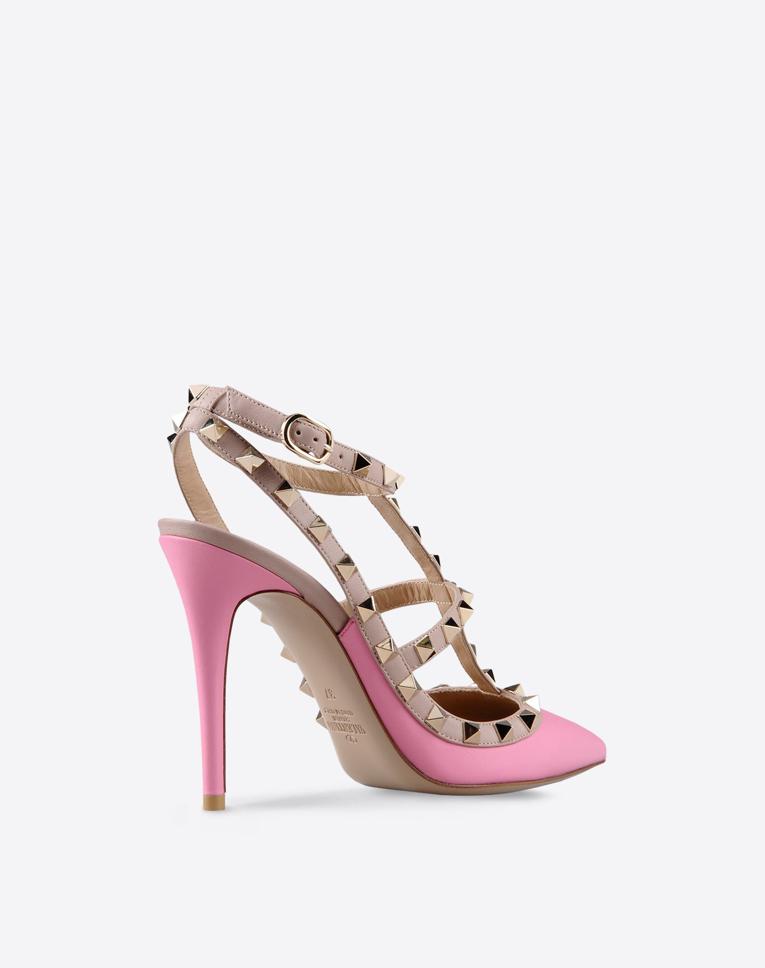 VALENTINO Studs Metal Applications Buckling ankle strap closure Solid color Narrow toeline  44758985pb