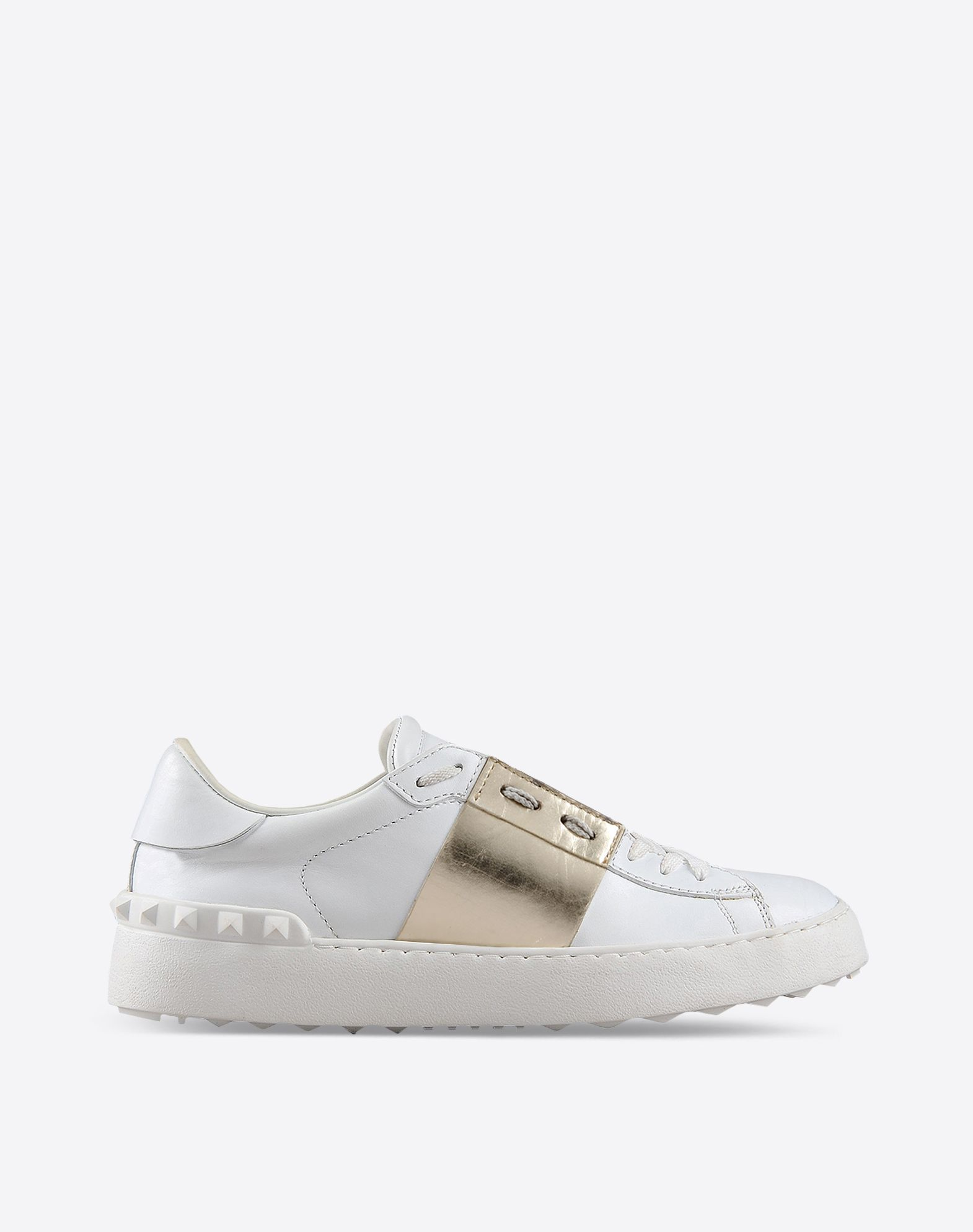 Valentino Gold Stripe Stud Leather Sneakers