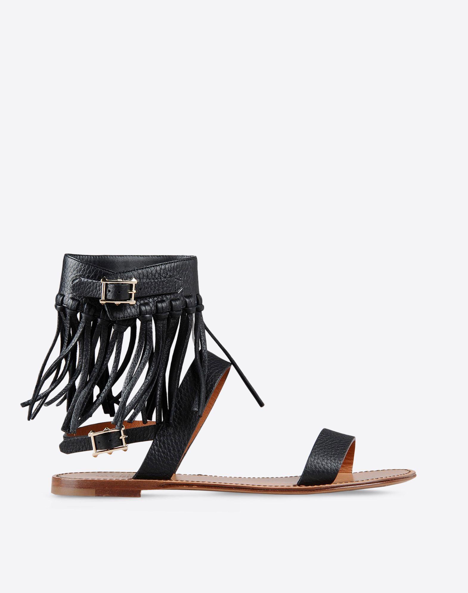 VALENTINO Textured leather Fringe Buckle Leather sole Round toeline  44763705cu