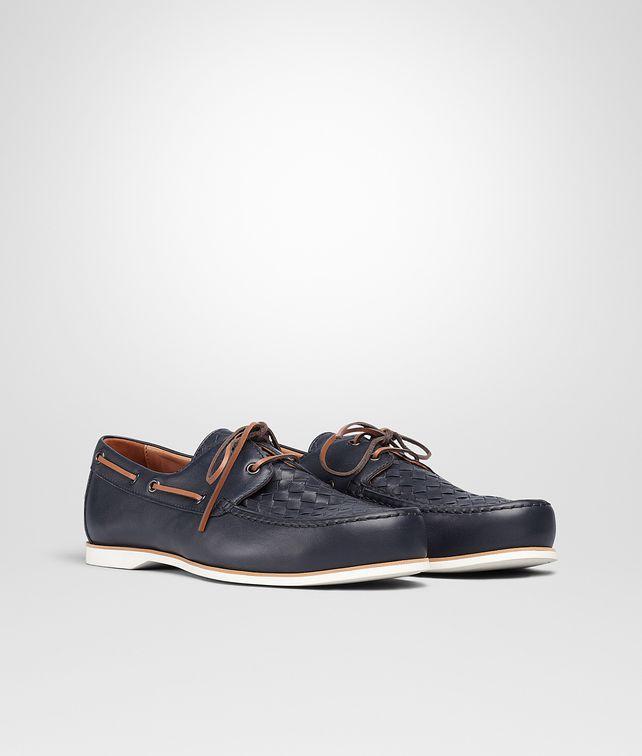 4979ffdcd9c0 BOTTEGA VENETA Dark Navy Intrecciato Soft Calf Boat Shoe Slippers and  Loafers