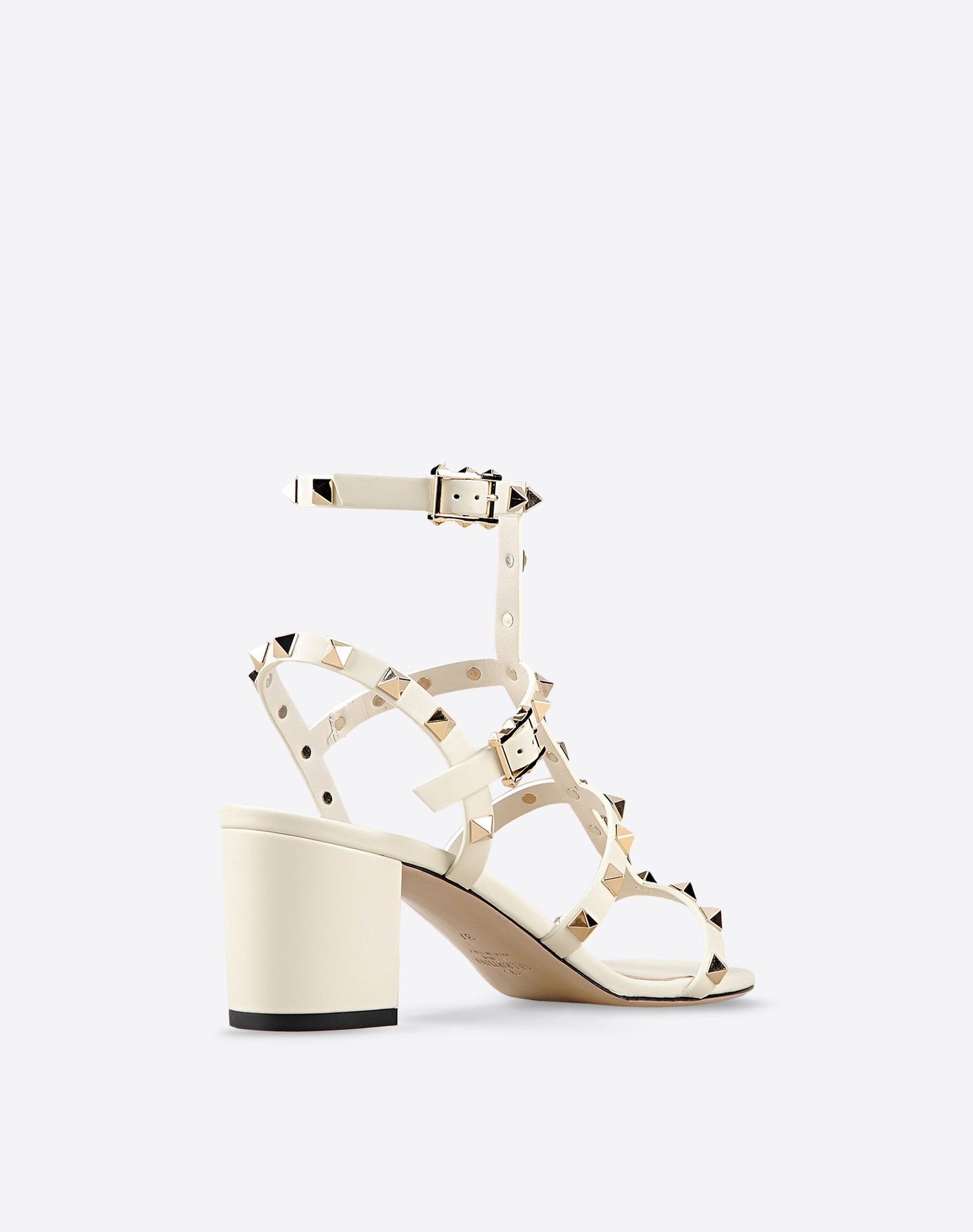 VALENTINO Leather sole Buckling ankle strap closure Studs Round toeline Covered heel  44766805er