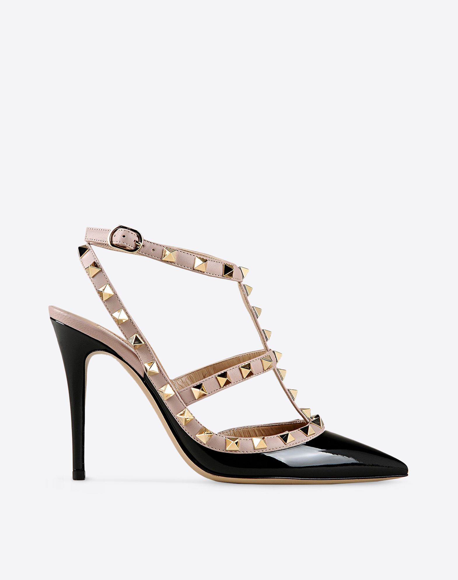 VALENTINO Varnished effect Buckling ankle strap closure Leather sole Studs Narrow toeline Spike heel  44766806dr