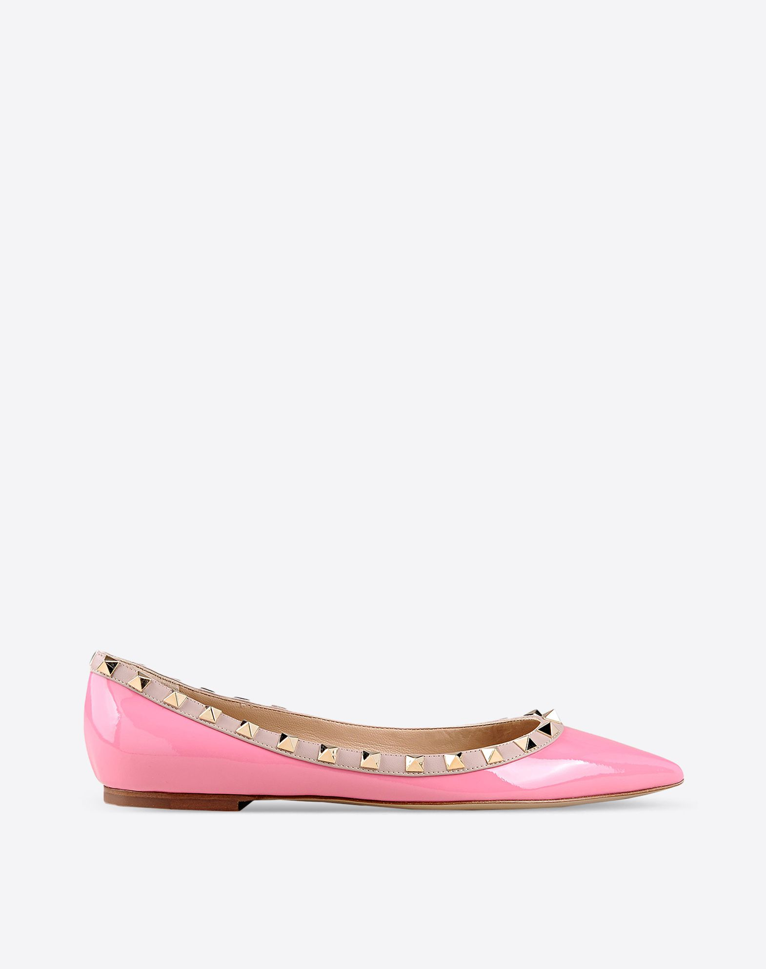 VALENTINO Studs Varnished effect Solid color Leather sole Narrow toeline Flat heel  44775445ff