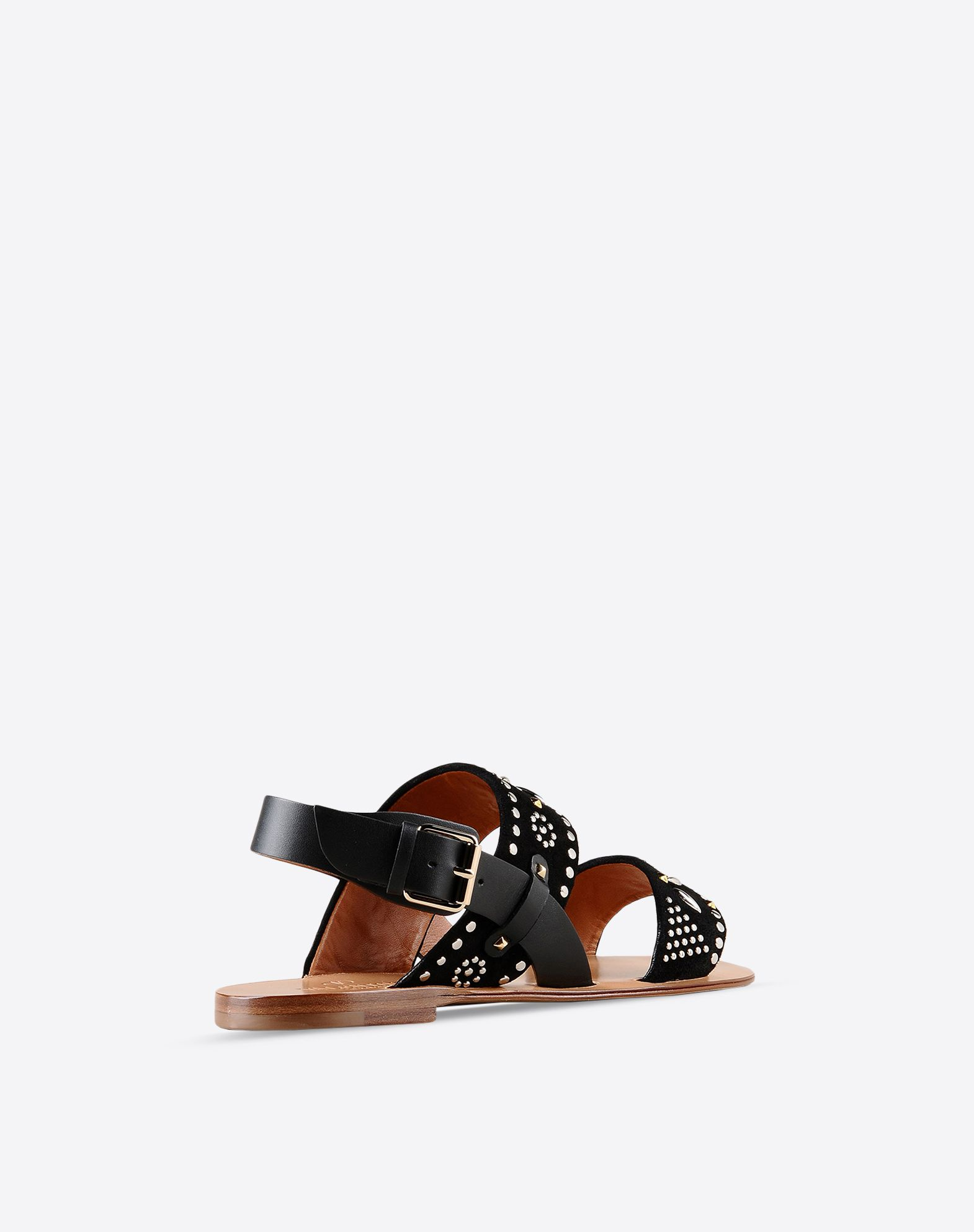 VALENTINO Metal Applications Sueded Buckle Leather sole Round toeline  44788165at
