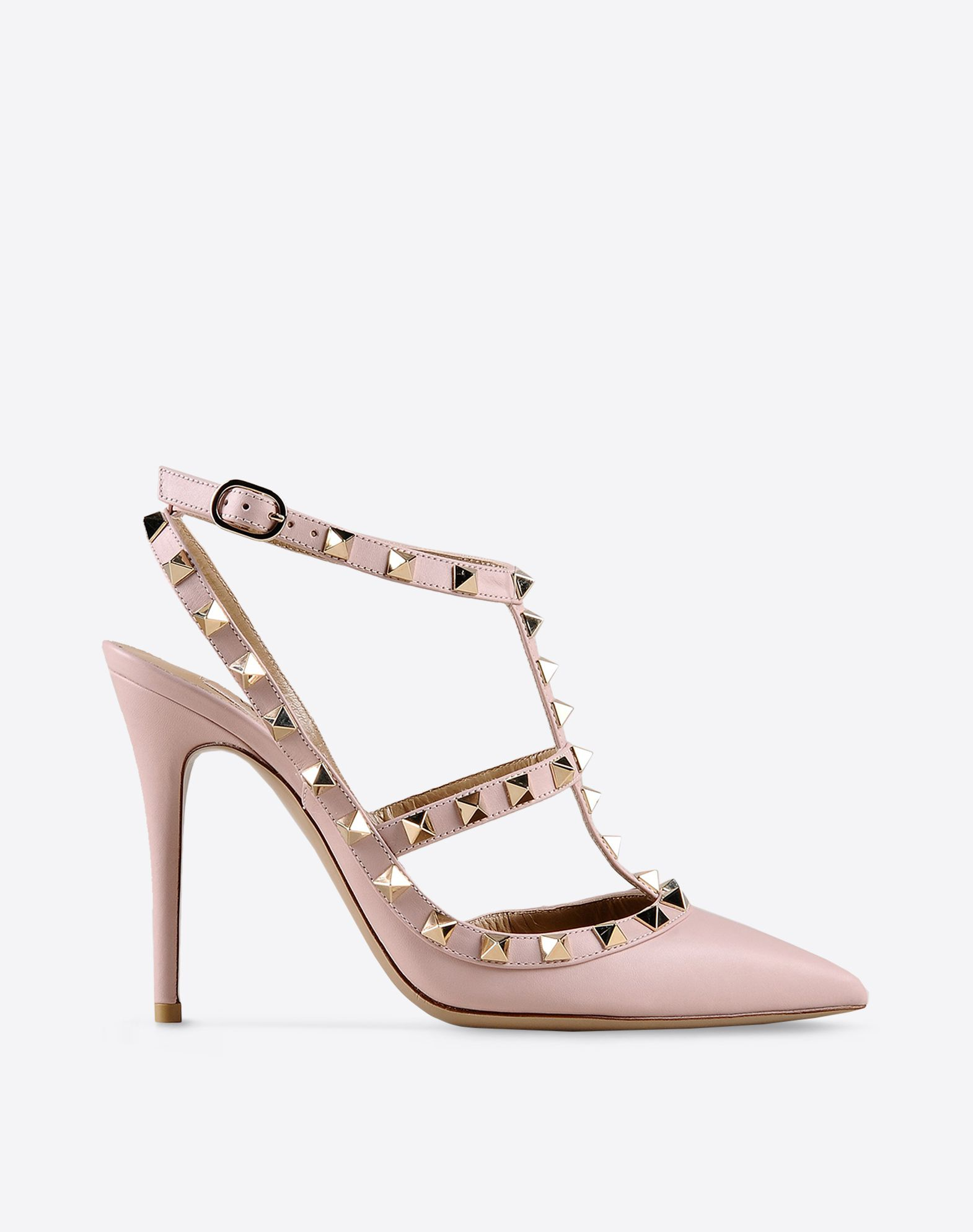VALENTINO Metal Applications Buckle Leather sole Narrow toeline Spike heel  44795304qe