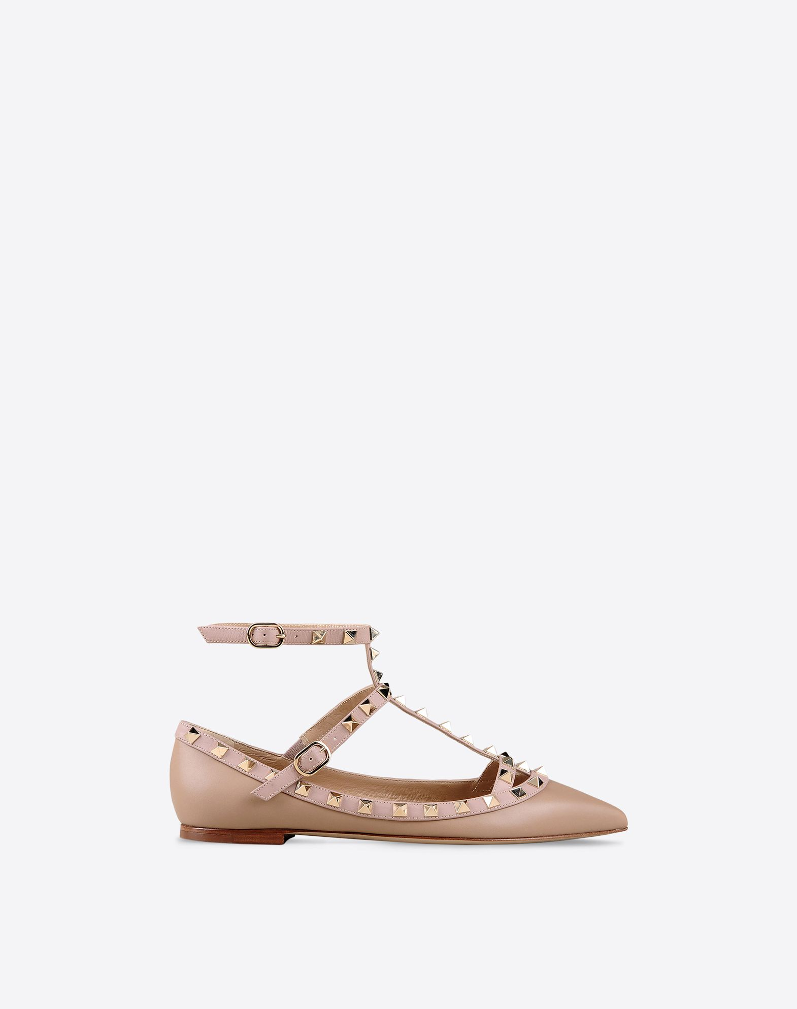 VALENTINO Metal Applications Two-tone pattern Side buckle closure Leather sole Narrow toeline Flat heel  44796038cj