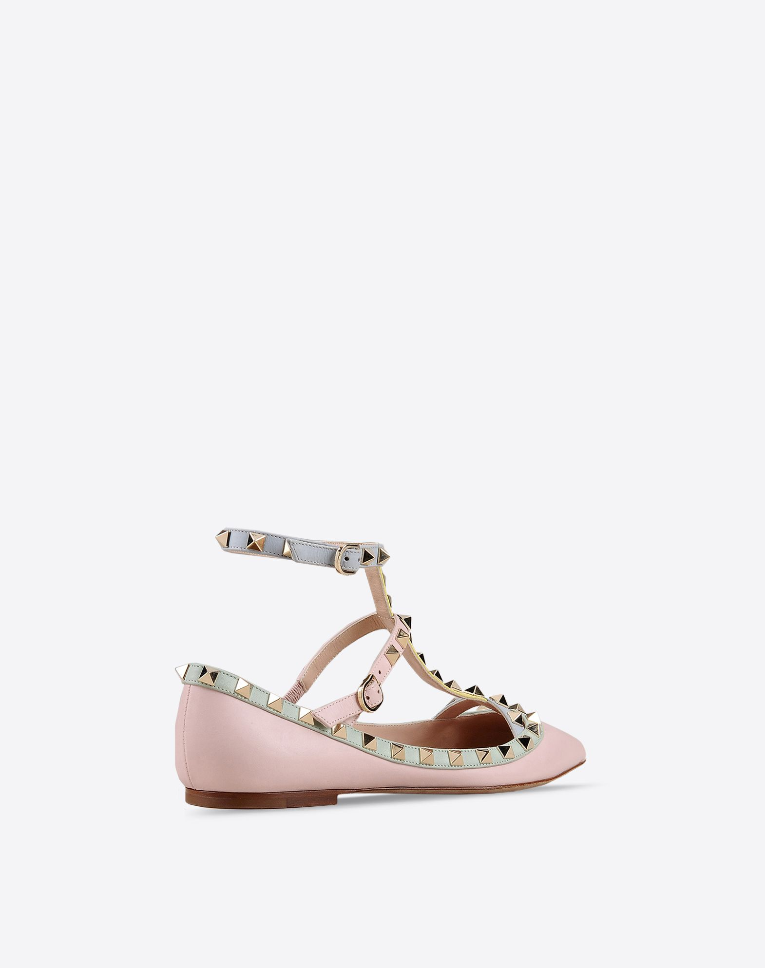 VALENTINO Studs Multicolor Pattern Buckling ankle strap closure Leather sole Narrow toeline  44799278lr