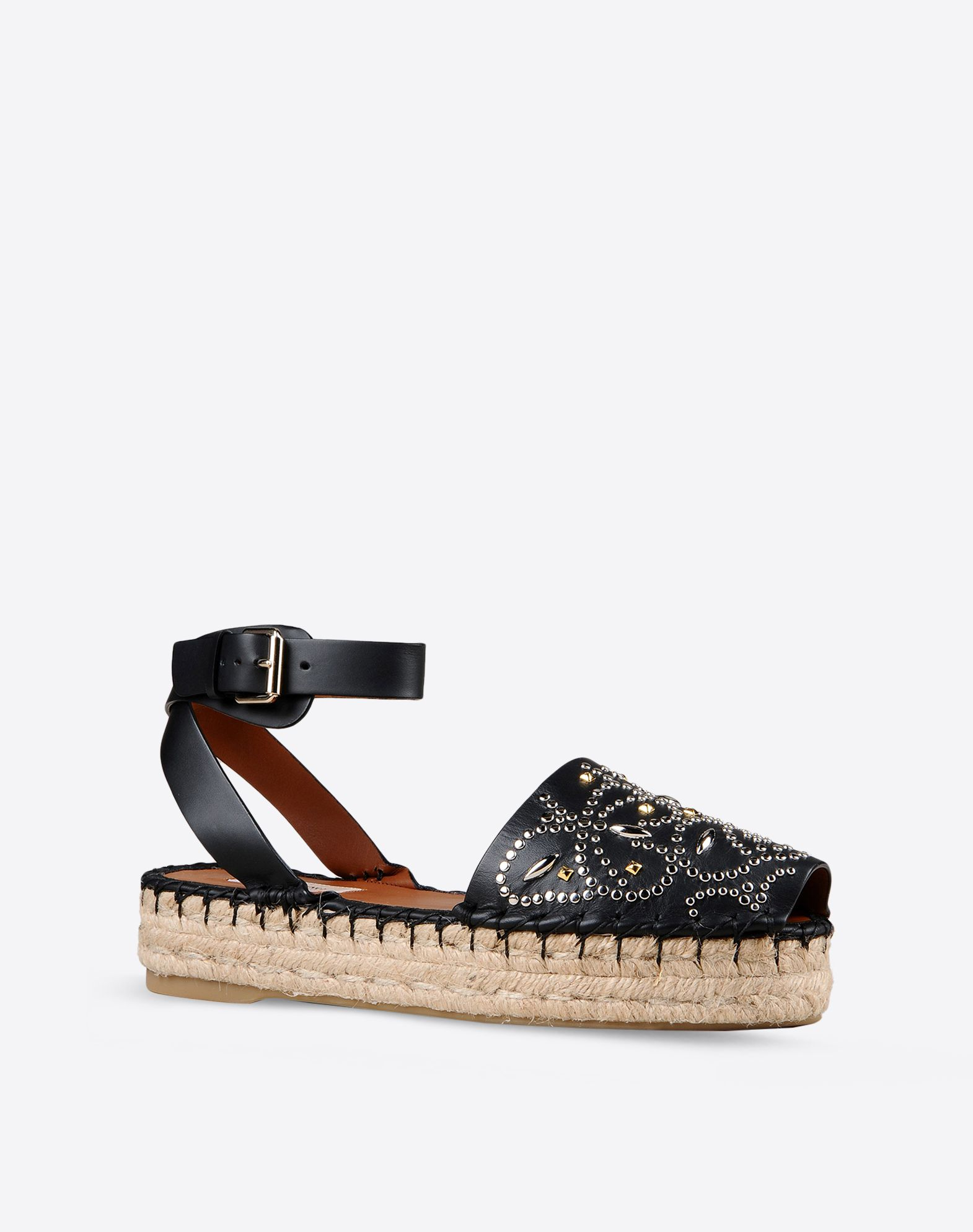 VALENTINO Contrasting applications Studs Side buckle closure Solid color Rubber sole  44805283kg
