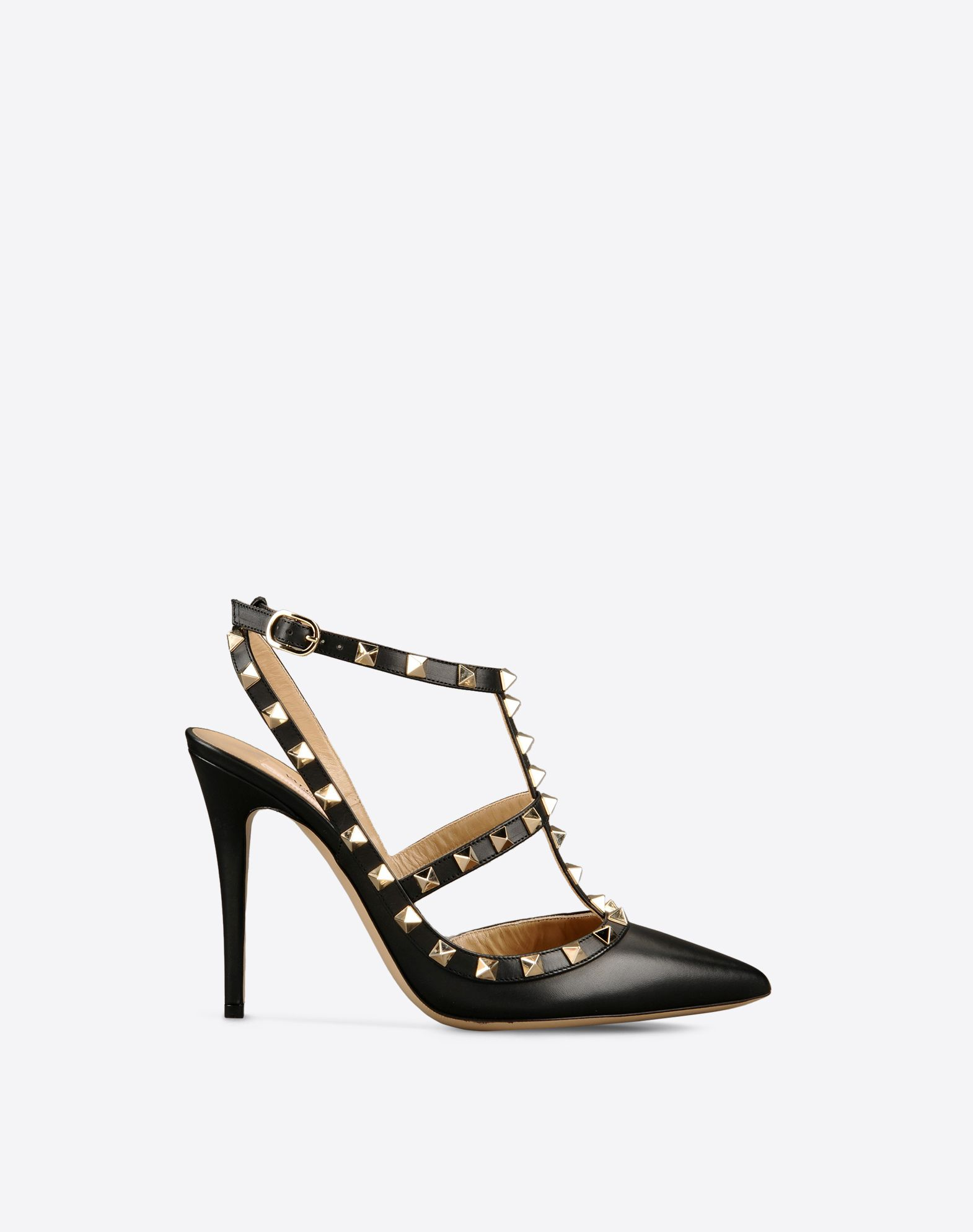VALENTINO Metal Applications Solid color Buckle Leather sole Narrow toeline Spike heel  44817456ps
