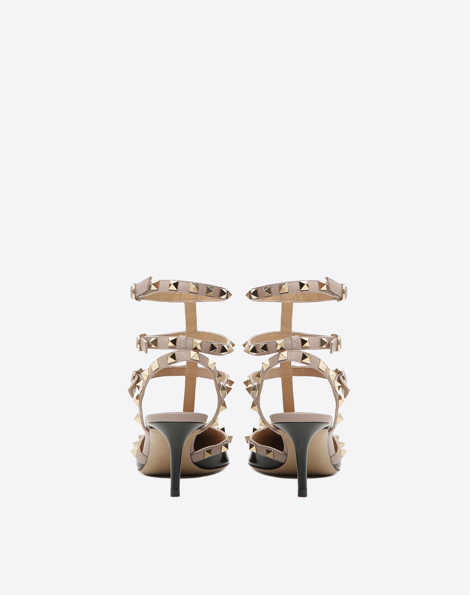 VALENTINO Contrasting applications Varnished effect Buckle Leather sole Spike heel Narrow toeline  44836016pp