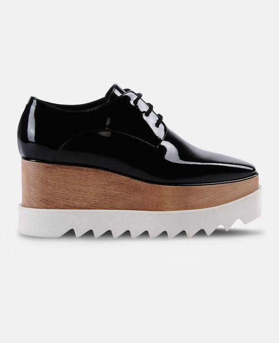 STELLA McCARTNEY Black Patent Elyse Shoes Wedges D c