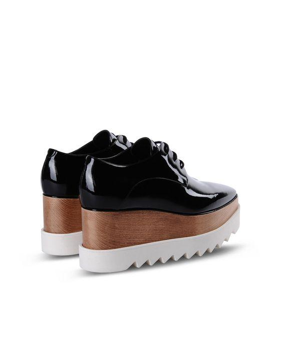 STELLA McCARTNEY Black Patent Elyse Shoes Wedges D i