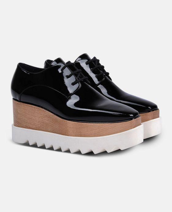 STELLA McCARTNEY Black Patent Elyse Shoes Wedges D h