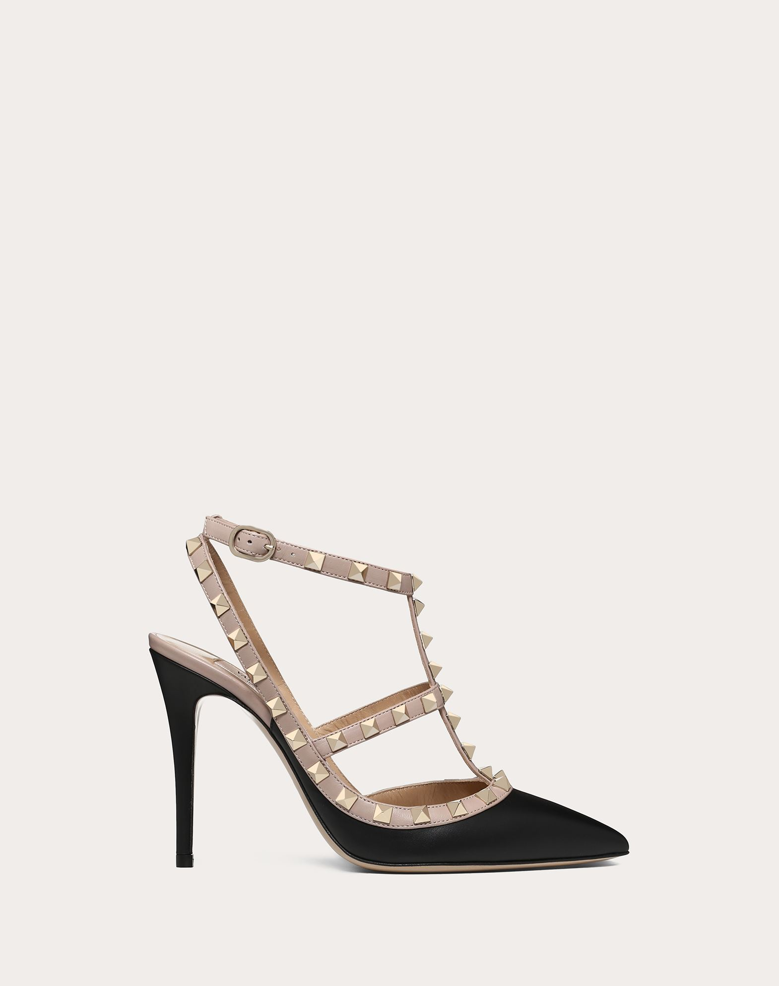 VALENTINO Two-tone Studs Buckling ankle strap closure Narrow toeline Leather  sole Spike heel 44841528dv