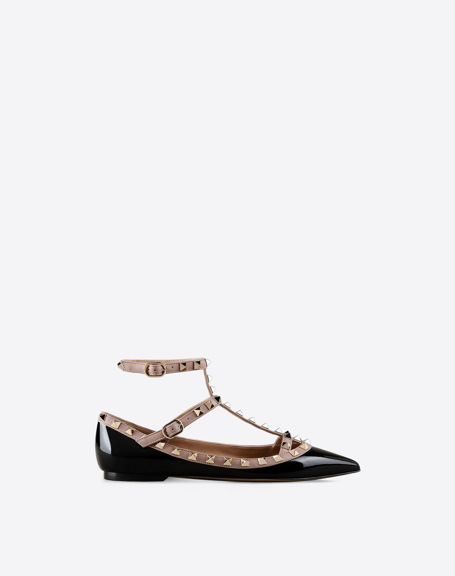 VALENTINO Contrasting applications Varnished effect Leather sole Narrow toeline  44842221gk
