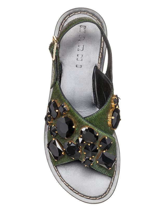 Marni Sandal in pony-like calfskin with beads in glass Woman - 4