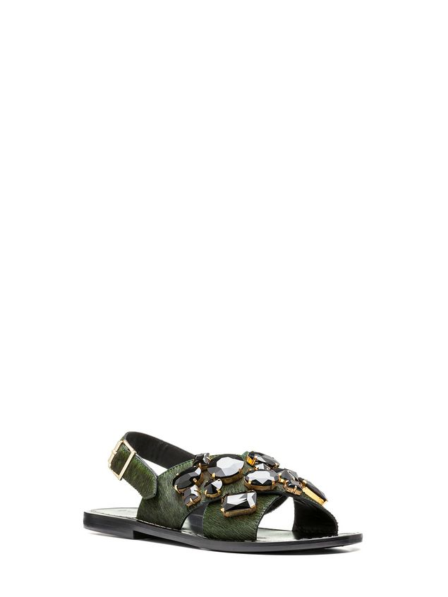 Marni Sandal in pony-like calfskin with beads in glass Woman - 2