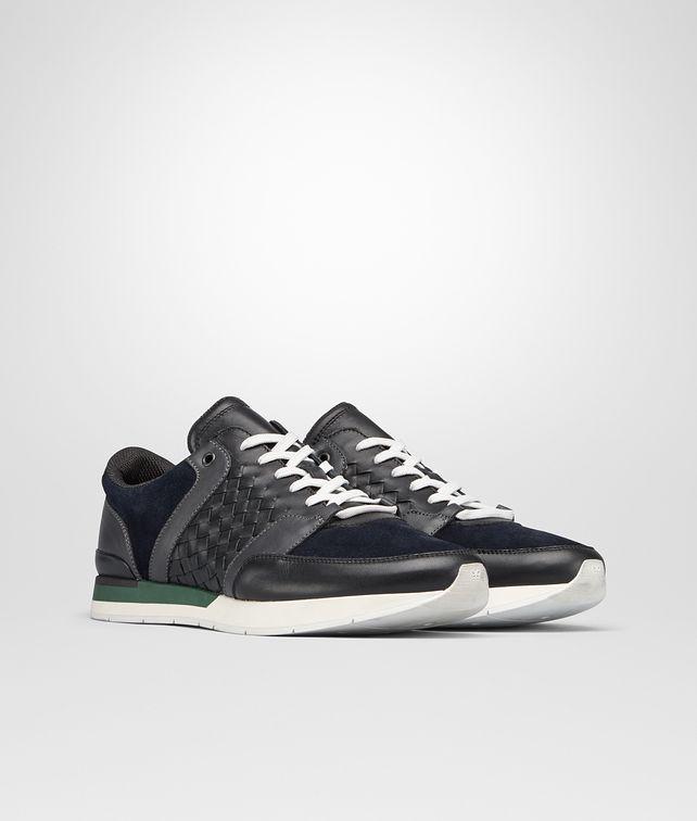 BOTTEGA VENETA SNEAKER IN NERO CALF INTRECCIATO AND DARK NAVY SUEDE Sneaker or Sandal Man fp