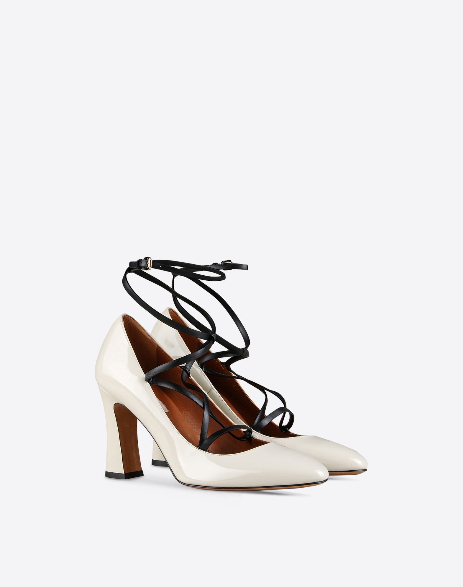 VALENTINO Varnished effect Buckle Leather sole Round toeline Covered heel  44854914fd